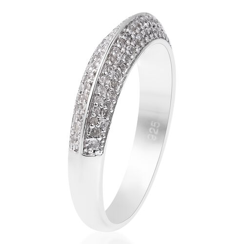 Isabella Liu - Twilight Collection - Natural White Cambodian Zircon (Rnd) Ring in Rhodium Overlay Sterling Silver