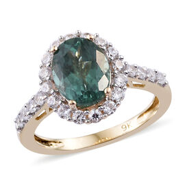3.99 Ct AAA Teal Apatite and Cambodian Zircon Halo Ring in 9K Gold 2.5 Grams