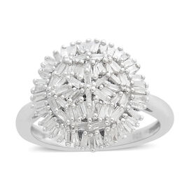 0.50 Ct Diamond Cluster Ring in Platinum Plated Silver