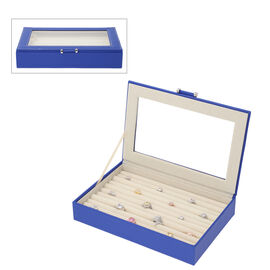 Royal Blue Ring Box with Anti-Tarnish Lining and Transparent Window (26.7x17.8x5.5cm)