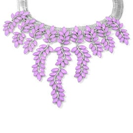 Simulated Purple Jade Leaf Waterfall Necklace in Silver Tone 17 with 4 inch Extender