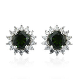 3.16 Ct Diopside and Cambodian Zircon Halo Stud Earrings in Rhodium Plated 9K White Gold 1.4 Grams