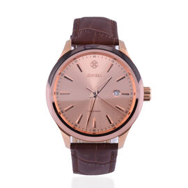 JOWISSA Tiro Swiss Mens 5 ATM Water Resistant Watch with Alligator Print Genuine Leather Strap - Rose Gold & Brown