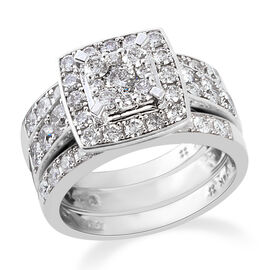NY Close Out Deal- Set of 3 14K White Gold Diamond (Rnd) (I1 / G-H) Ring 2.370 Ct, Gold wt 9.50 Gms