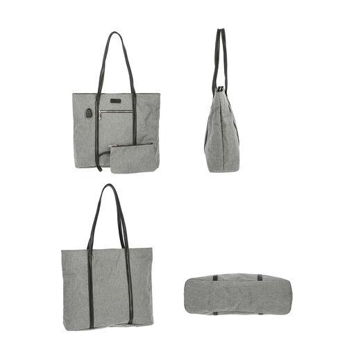 Multi Purpose Zipper Closure Tote Bag (40x13x35cm) with Wristlet (20x12cm) and Power Bank - Grey