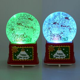 Home Decor - Musical Crystal Globe Smiling Santa Claus and Snowman (Size 10x10x15.5 Cm) - Red and Wh