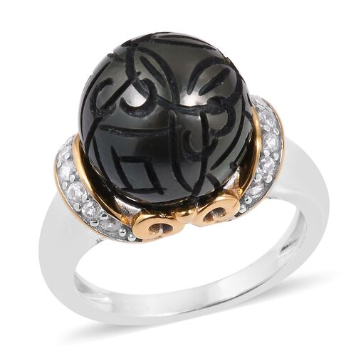 Tahitian Pearl (Rnd), Natural White Cambodian Zircon Ring in Rhodium and Gold Overlay Sterling Silve