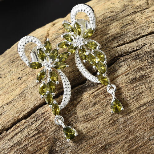 ELANZA Simulated Peridot  (Mrq), Simulated Diamond Earrings (with Push Back) in Sterling Silver.