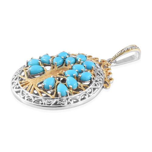 Arizona Sleeping Beauty Turquoise (Pear) Tree of Life Pendant in Platinum and Yellow Gold Overlay Sterling Silver 2.500 Ct, Silver wt 6.94 Gms