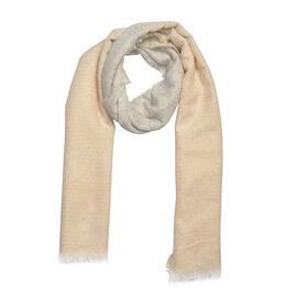 Designer Inspired-Grey and Beige Colour Lurex Shawl (Size 185x70 Cm)