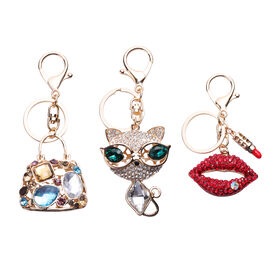 3 Piece Set - Multi Colour Austrian Crystal and Simulated Multi Gemstone Enamelled Handbag, Cat and