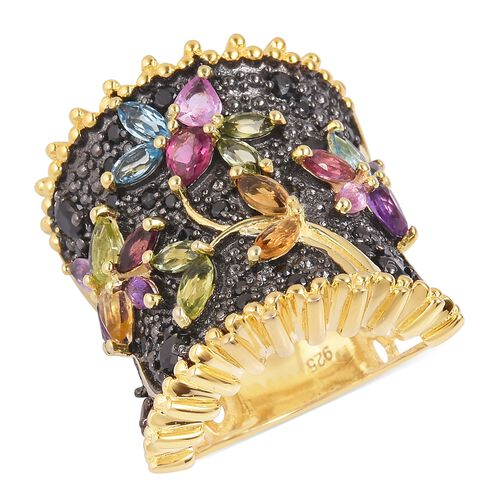 Designer Inspired- Multi Gemstone Flower and Leaves Ring in Black and Yellow Gold Overlay Sterling S
