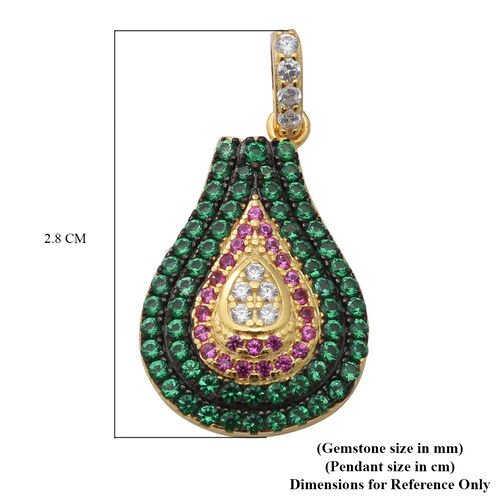 ELANZA AAA Simulated Diamond, Simulated Pink Sapphire and Simulated Emerald Pendant in Black Plating, Yellow Gold and Rhodium Overlay Sterling Silver