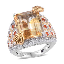 GP 11.75 Ct Citrine and Multi Gemstones Honeycomb Design Ring in Gold Plated Sterling Silver
