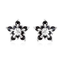 Boi Ploi Black Spinel (Rnd) Starburst Design Earrings (with Push Back) in Sterling Silver