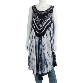 Sequin Embellished Tie-Dye Umbrella Dress with Two Side Pockets (One Size; L=105 Cm) - Navy Blue