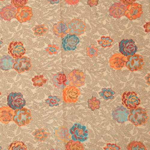 Close Out One Time Deal Superfine 100% Merino Wool Multi Colour Flowers Hand Embroidered Cream Colour Pareo (Size 200x70 Cm)