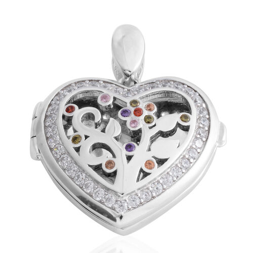 Limited Edition- ELANZA Simulated Diamond (Rnd) Heart Locket Pendant in Rhodium Overlay Sterling Silver, Silver wt 6.90 Gms.