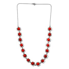55.25 Ct Red Howlite Floral Necklace in Platinum Plated 20 Inch