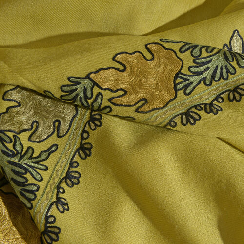 One Time Deal-100% Merino Wool Nugget Gold, Green and Multi Colour Embroidered Shawl with Tassels (Size 180X70 Cm)