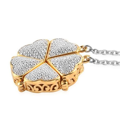 White Diamond Necklace (Size 18) in ION Plated 18K Yellow Gold Tone