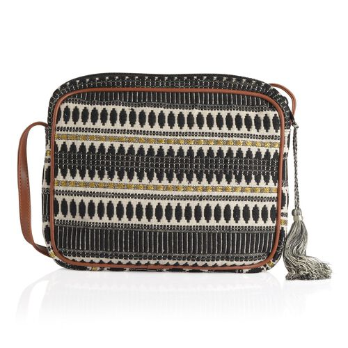 Black and White Colour Jacquard Crossbody Bag (Size 28x22x4.5 Cm)