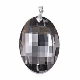 Grey Glass Solitaire Pendant in Sterling Silver