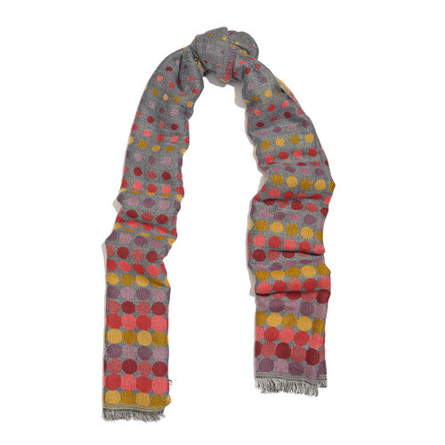 Grey, Orange and Multi Colour Polka Dots Pattern Scarf with Fringes (Size 190X70 Cm)