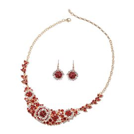 2 Piece Set - Red and White Austrian Crystal Necklace (Size 20 with 4 inch Extender) and Hook Earrin