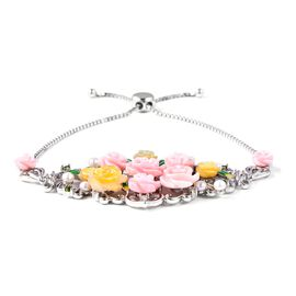 Jardin Collection - Pink and Yellow Mother of Pearl, Freshwater Pearl Multi Gemstone Enameled Bracel