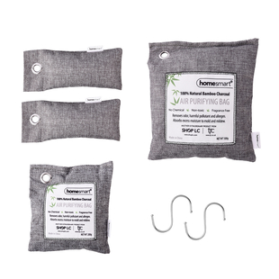 Set of 4 - Home Smart Air Purifying Bags with Set of 2 Hooks