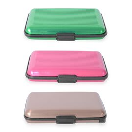 Set of 3 - 2x RFID Card Holder Wallets (Fuchsia & Green) and 1x RFID Card Holder with Intergrated Po