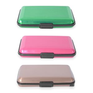 Set of 3 - 2x RFID Card Holder Wallets (Fuchsia & Green) and 1x RFID Card Holder with Intergrated Power Bank(Coffee) (Navigation Jewellery By Category Jewellery Sets) photo