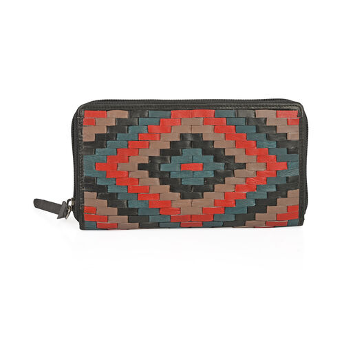 CLOSE OUT DEAL Hand Woven Genuine Leather Zip Up Black and Multi Colour RFID Blocking Clutch Wallet (19x10x2.5cm)