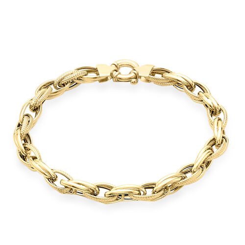 9K Yellow Gold Textured Link Bracelet (Size 9), Gold wt 6.40 Gms