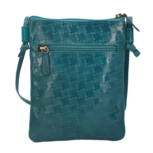 SUKRITI 100% Genuine Leather Traditional Hand Painted Bird Crossbody Bag (Size:15.75x19.81cm) with Shoulder Strap (135cm) - Teal Colour