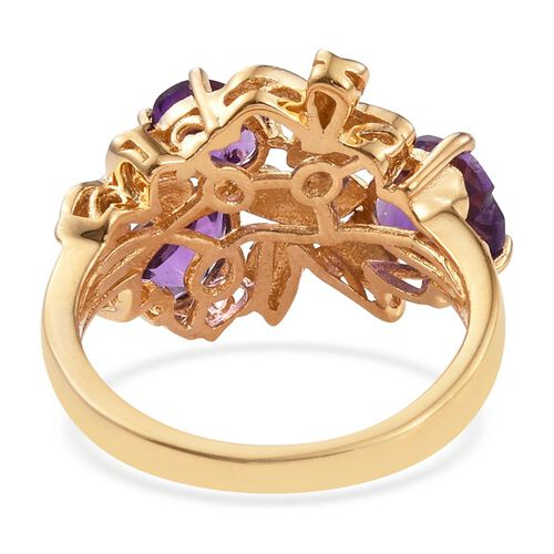 Natural Uruguay Amethyst (Hrt 1.65 Ct) Floral Ring in 14K Gold Overlay Sterling Silver 3.500 Ct.