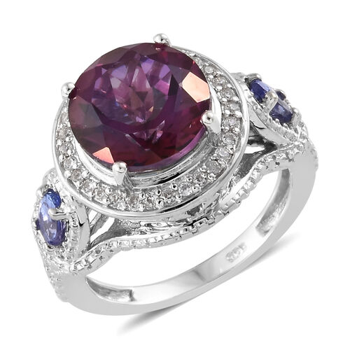 Lulaby Mystic Topaz (Rnd 4.10 Ct),Tanzanite and Natural Cambodian Zircon Ring in Platinum Overlay Sterling Silver 4.750 Ct, Silver wt 5.12 Gms.