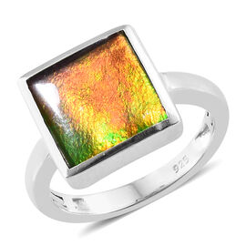 AA Canadian Ammolite (Sqr 10mm) Ring  in Platinum Overlay Sterling Silver.