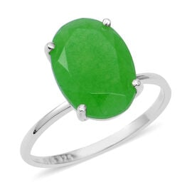 5.32 Ct Green Jade Solitaire Ring in Sterling Silver