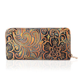 Bronze Embossed RFID Blocker Clutch Wallet (Size 19x10x2.5 cm large size phone can fit in)