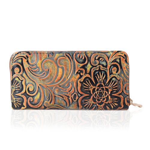 Floral Embossed RFID Blocker Clutch Wallet ( size19x10x2.5cm large size phone can fit in )