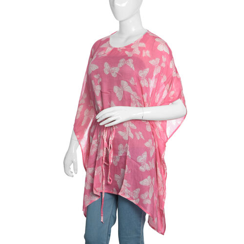 Pink and White Colour Butterfly Printed Kaftan (Free Size)