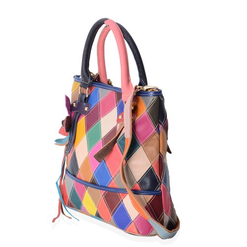 Morocco Collection 100% Genuine Leather MultiColor Block Pattern with 3D Flower Bag with Removable Shoulder Strap (Size 29.5x28x12)