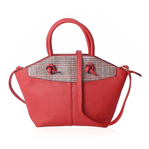 Red and White Colour Houndstooth Pattern Tote Bag with External Zipper Pocket with Shoulder Strap (S