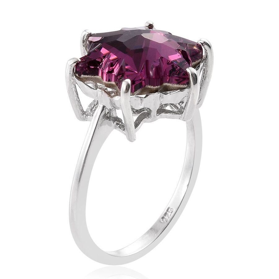 STELLARIS CUT J Francis Crystal from Swarovski - Rubellite Colour Crystal  Solitaire Ring in Platinum Overlay Sterling Silver - M2731032 - TJC