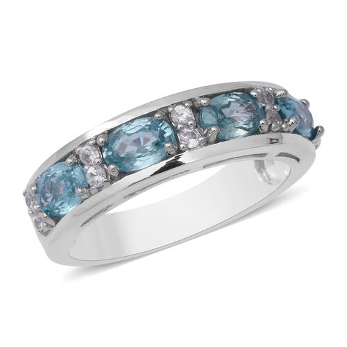 Blue and White Zircon Eternity Band Ring in Rhodium Plated Sterling Silver