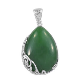 Green Jade (Pear 22x16 mm) Pendant in Platinum Overlay Sterling Silver 20.000 Ct.