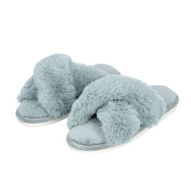 DOD - Super Soft Cross Band Faux Fur Slippers (Size M: 5-6) - Blue