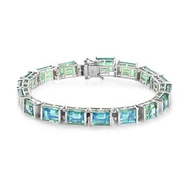 46.75 Ct Peacock Quartz Tennis Bracelet in Platinum Plated Sterling Silver 17.18 Grams 7.5 Inch